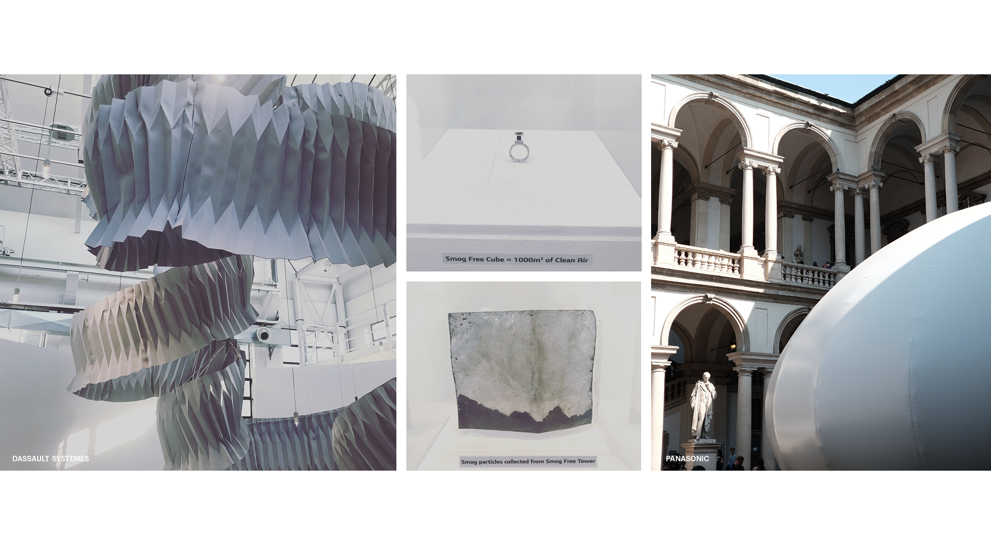 Image Collage Milan Design Week 2018 showing sculpture, cube, statue, building