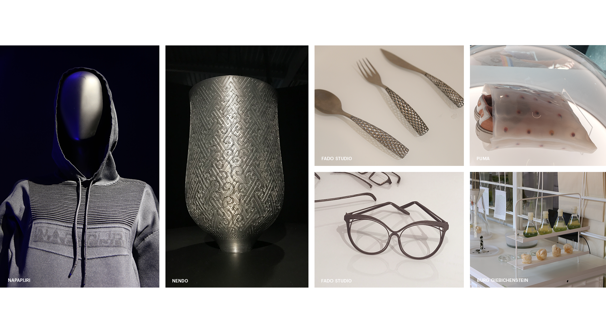 Image Collage Milan Design Week 2018 showing clothing, mannequin, mesh, cup, knife, fork, spoon, glasses, shoes, bag, bottles, green liquid