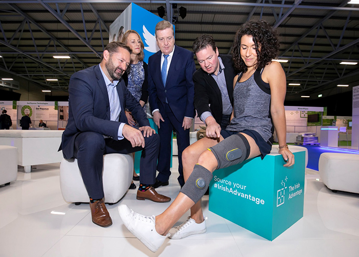 Wearable technology smart knee brace designed by Design Partners Enterprise Ireland Minister Pat Breen